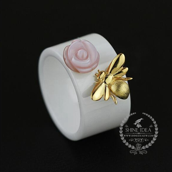 925 sterling silver ceramic butterfly solid silver women wedding ring jewelry 6260264