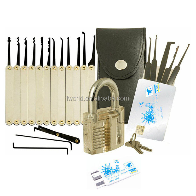 Transparent practice lock set Cutaway Crystal lock pick set Locksmith Tools For training