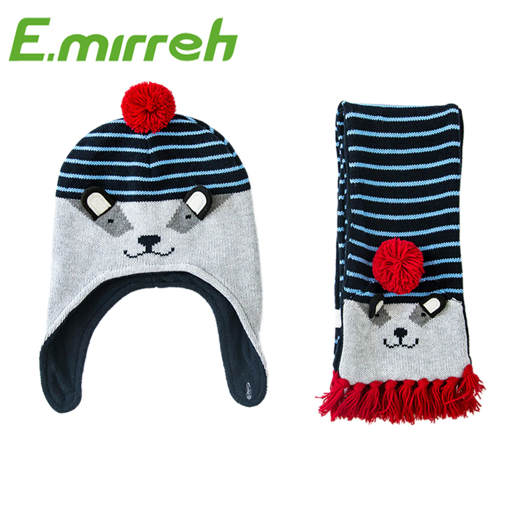 2016 new style latest kids hat scarf baby boy baby girl cute baby winter hats and scarves