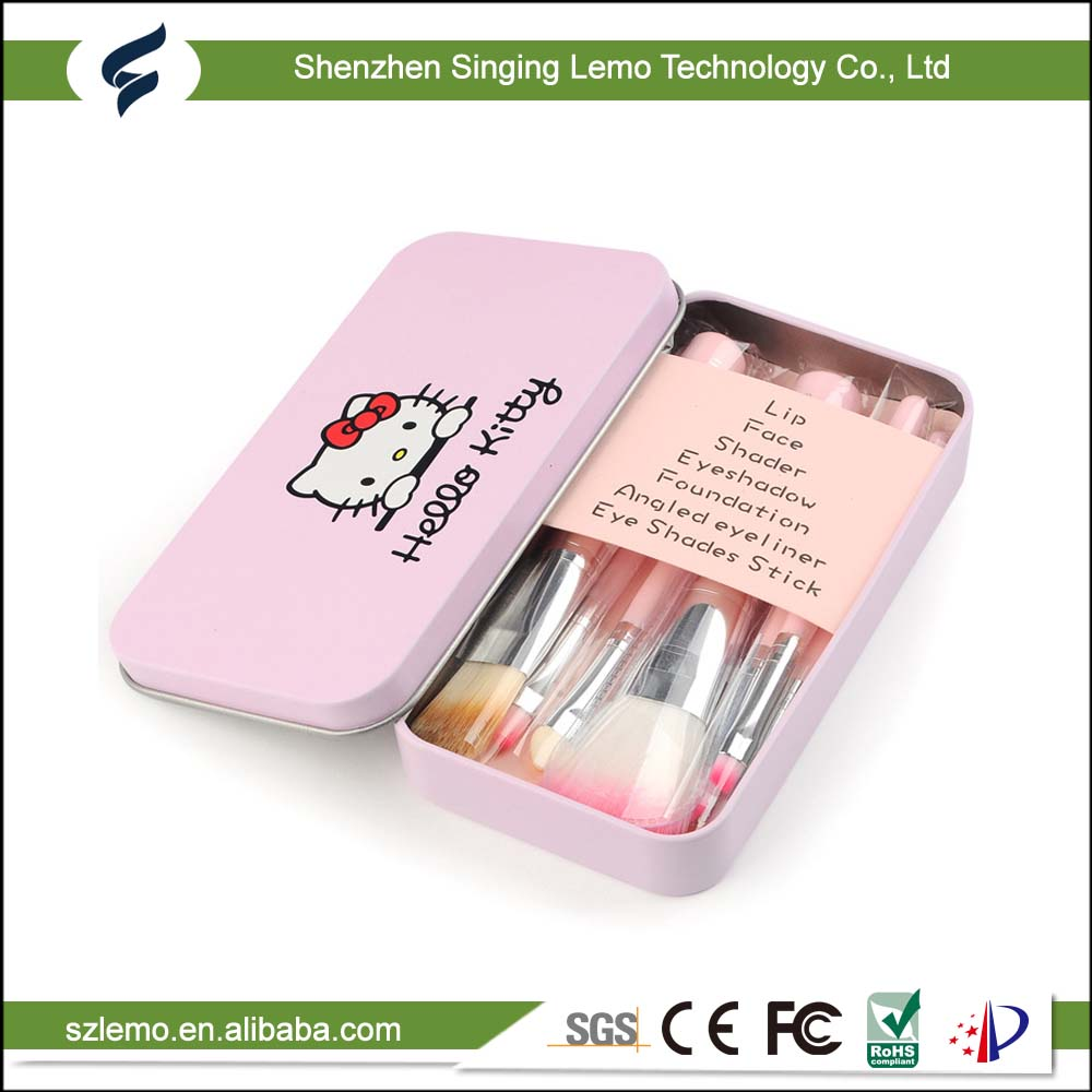Wholesale cheap price 7 Pcs Professional Pink Hello Kitty Makeup Brush Set with Box