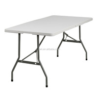 Folding round banquet table 4ft round trestle table outdoor plastic folding table
