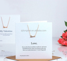 Handwriten Love Special Valentines White Necklace Card Custom Printed Hanging Jewelry Cards
