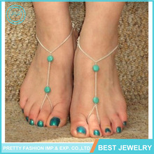 New wholesale cheap price fashion turquoise beads fancy gold anklet with toe ring for lady
