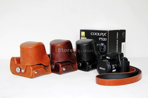 Camera bag case for P520 P510 cameras with should strap Free shipping & choose color Black,Dark coffee or Brown