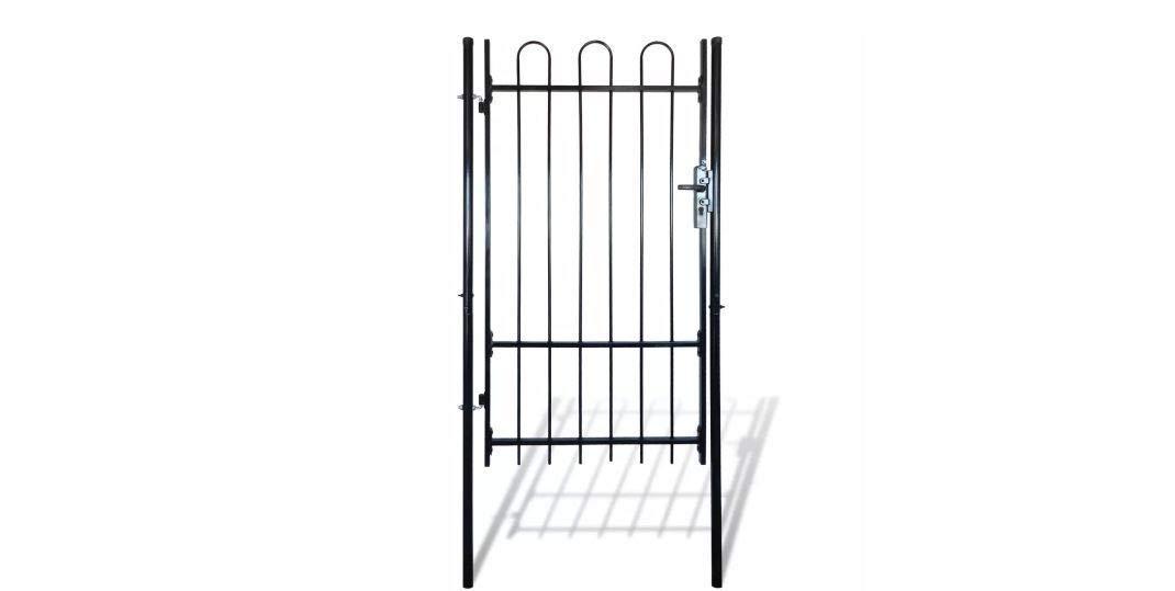 Daonanba Durable Single Door Stable Garden Gate Medtal Gence Gate with Hoop Top