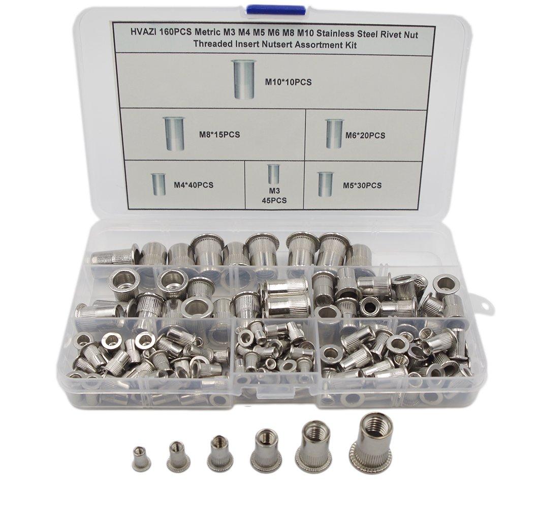 HVAZI 160PCS Metric M3 M4 M5 M6 M8 M10 Stainless Steel Rivet Nut Threaded Rivetnut Insert Nutsert Assortment Kit