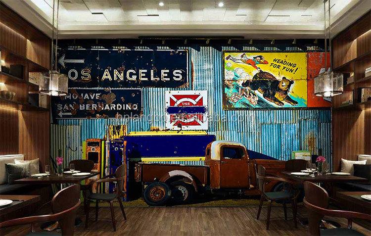 personnalis rtro en mtal feuille style papier peint murale restaurant studio bar salle de jeux 3d