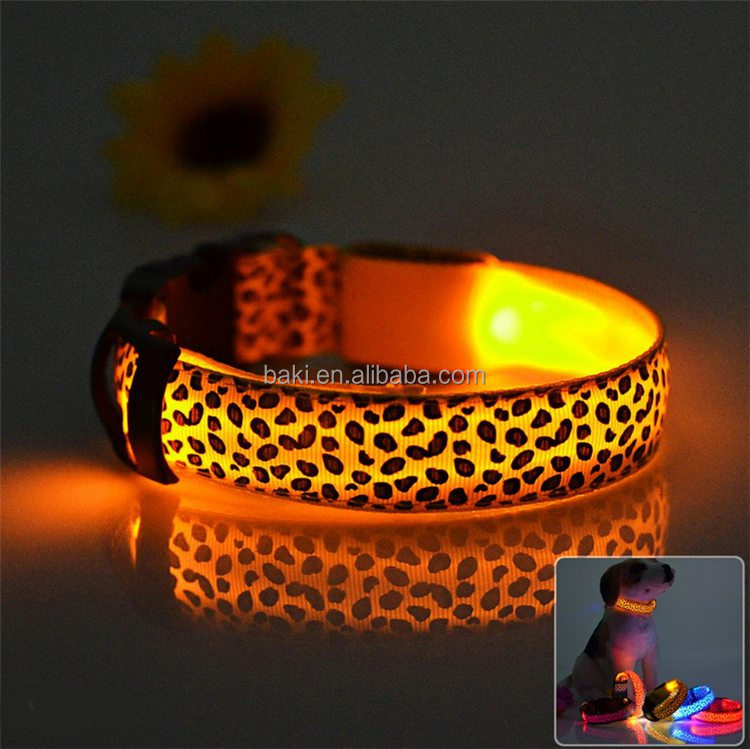 Dog Glow Flashing Leopard Print Design Puppy Necklace Luminous dog led collars