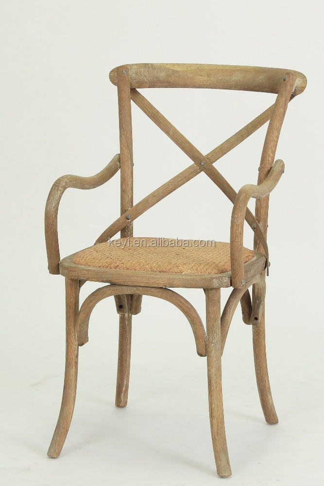 Solid Wood Antique Home useful Cross Back Dining Chair/Garden Rattan chair(CH-528-OAK)