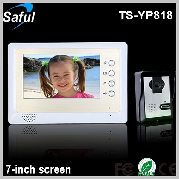 Saful TS-YP818 1v1 cheapest 7-inch TFT <strong>LCD</strong> wired video door phone peephole <strong>lcd</strong> video door phone