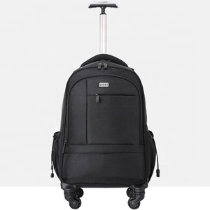 guangzhou factory 4 universal wheels 19 inches cabine laptop backpack trolley backpack