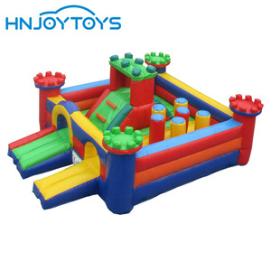 PVC Vinyl Bouncy Castle Children's Bouncer with Slide, Geometry Inflatable Jumping Castle for Kids
