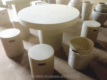 Light Cement Concrete Table Chair Set
