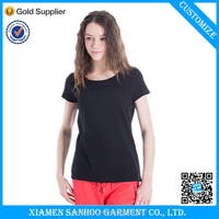 Wholesale Women Clothing Plain Black Cotton Ladies OEM T-shirt Low Price Good Quality