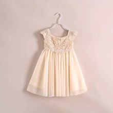 2017 <span class=keywords><strong>Anak</strong></span>-<span class=keywords><strong>anak</strong></span> musim panas gaun gading gadis crochet lace flower dress <span class=keywords><strong>anak</strong></span> lembut coton princess party dress