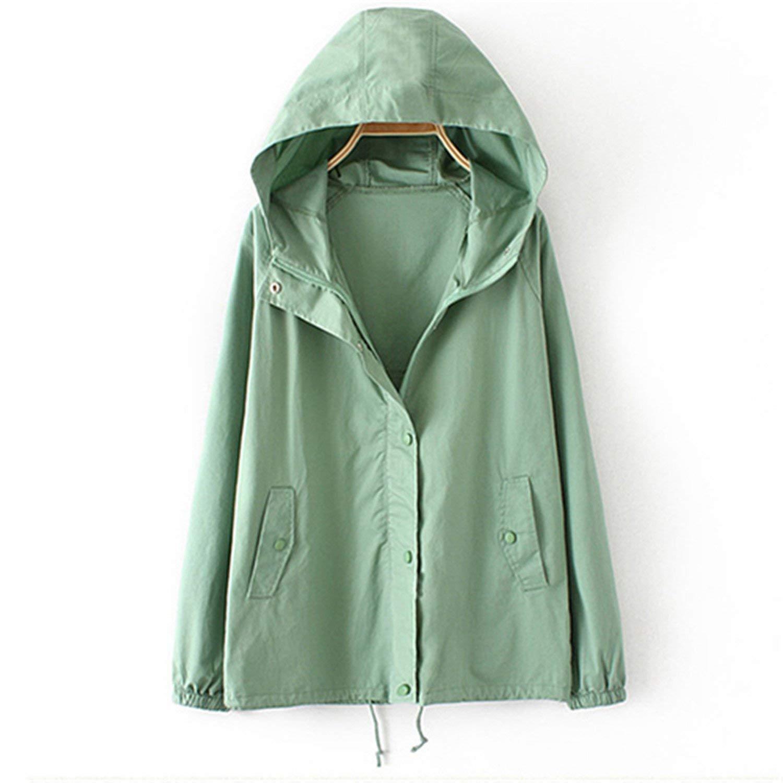 098aa5030b820 Get Quotations · LLcamc New Windbreaker Spring Autumn Long Sleeved Hooded Jacket  Coat Lady Korean Loose Casual Thin Jacket