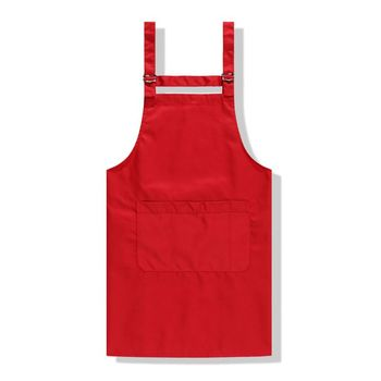 cotton solid color chef home kitchen apron copper buckle coffee shop high-grade adjustable apron