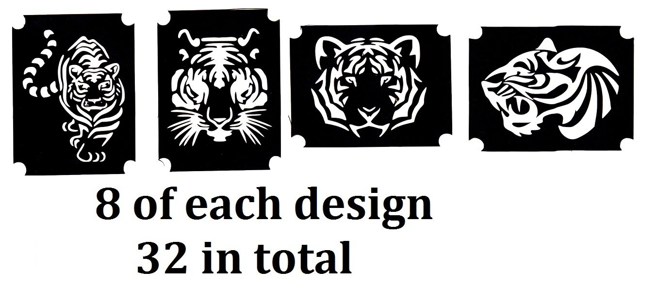 Tiger Collection (32 Tattoo Glitter Airbrush Stencil Tiger)