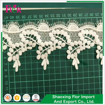 Prompt Delivery White Cotton Elastic Crochet Flower Edging Crystal