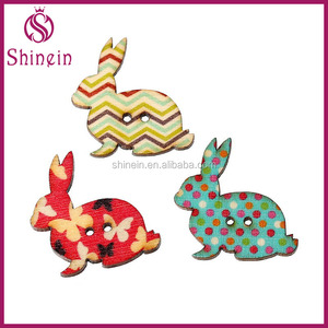 3*3cm 2 holes printed rabbit wooden button for CRAFT