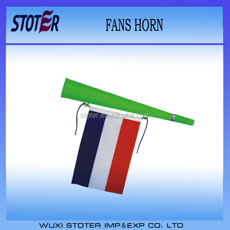 2016 Euro Cup French football fans plastic cheering horn with national Flag/World Cup hot sale noise maker horn