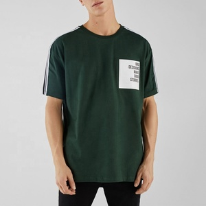 2019 newest OEM fashion streetwear 100% cotton t shirt color block mens custom logo printed t-shirt with pattern