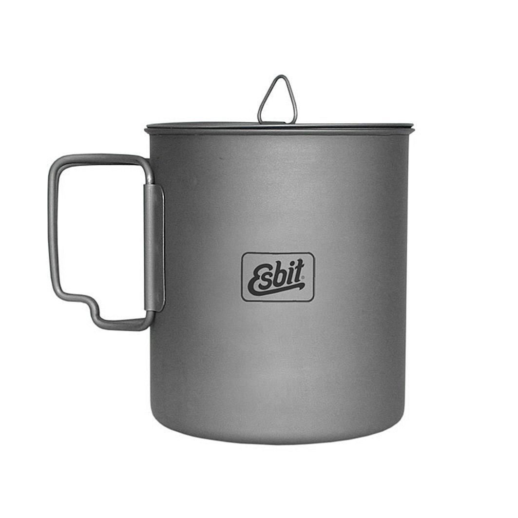 Esbit 750ml (25 oz) Ultralight Titanium Cooking Pot with Hinged Grip and Mesh Stow Bag