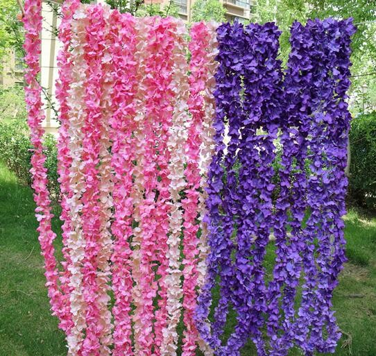 Hot sale Artificial silk flower artificial wisteria hanging string
