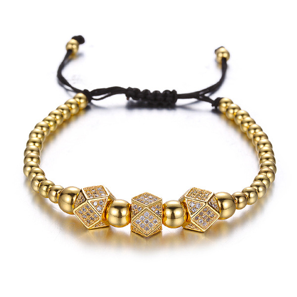 2019 March Expo Best Selling 4 Colors Available 4mm Copper Bead Micro Pave CZ Bead Charm Braided Macrame Bracelet фото