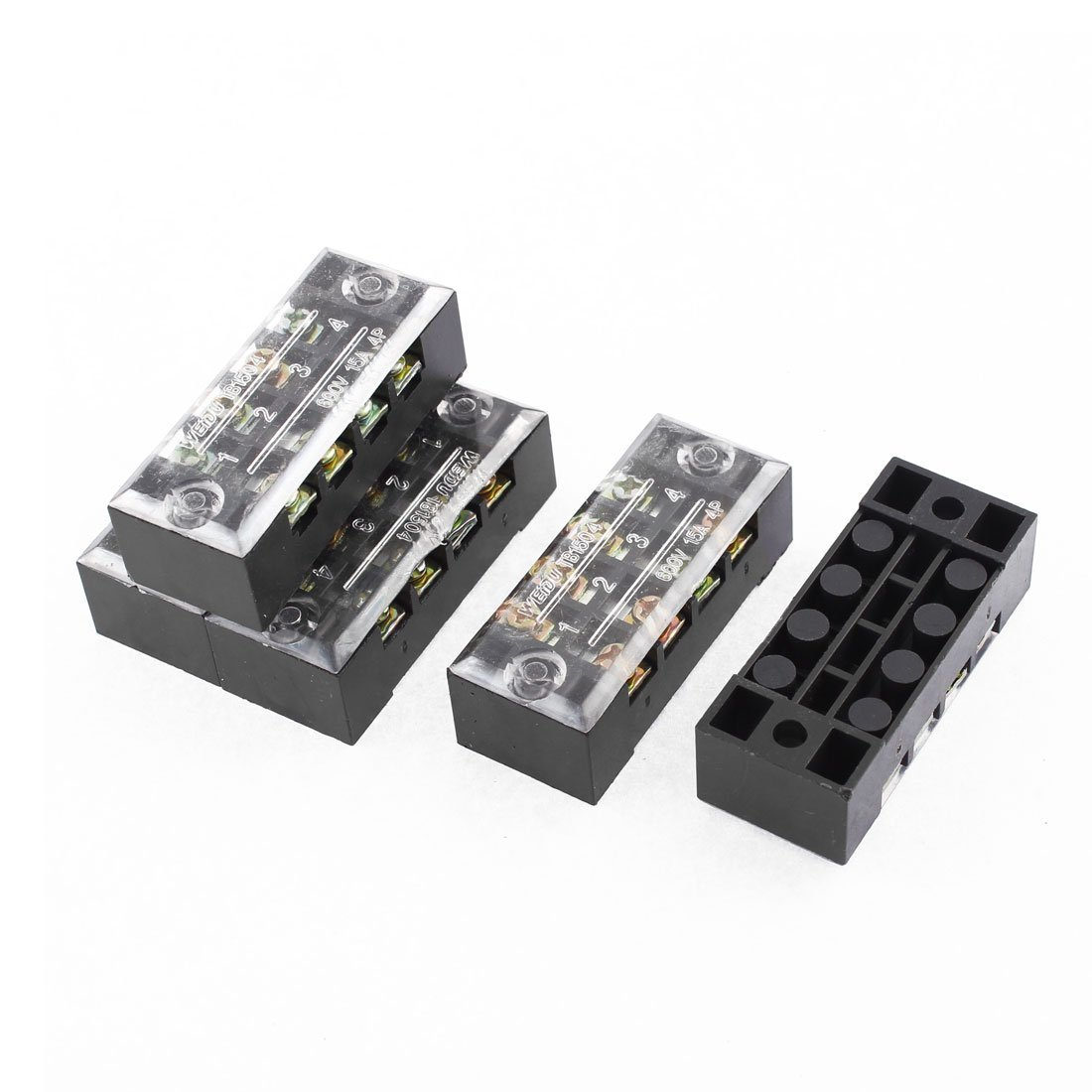 uxcell AC 600V 15A Dual Row 4P Screw Terminal Electric Barrier Block 5 Pcs