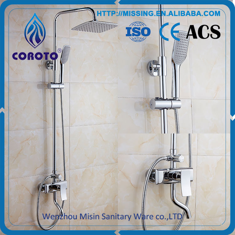 Hotel Square Rain Shower Head Chrome Shower Set Brass Bathroom Shower