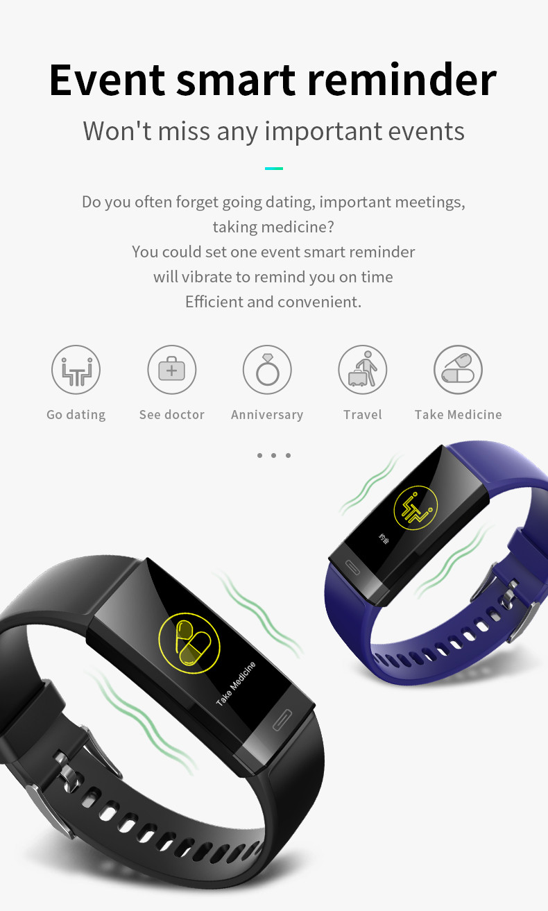 2020 New V100 Smart Watch Bracelet IP67 Waterproof Heart Rate Monitor Blood Pressure Fitness Tracker