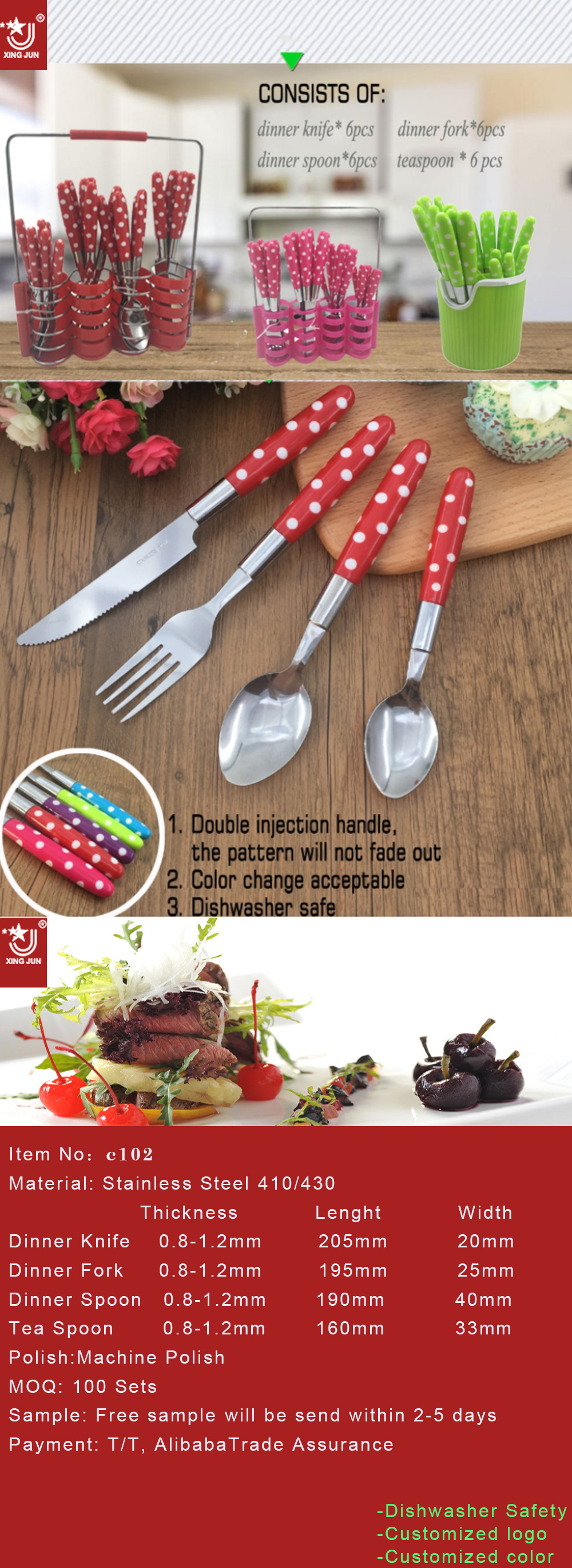 Popular Dinnerware Plastic Handle Stainless Steel Indonesia Cutlery Set