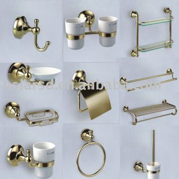 Bathroom accessories set gold palted chrome plated brass for Gold bathroom accessories