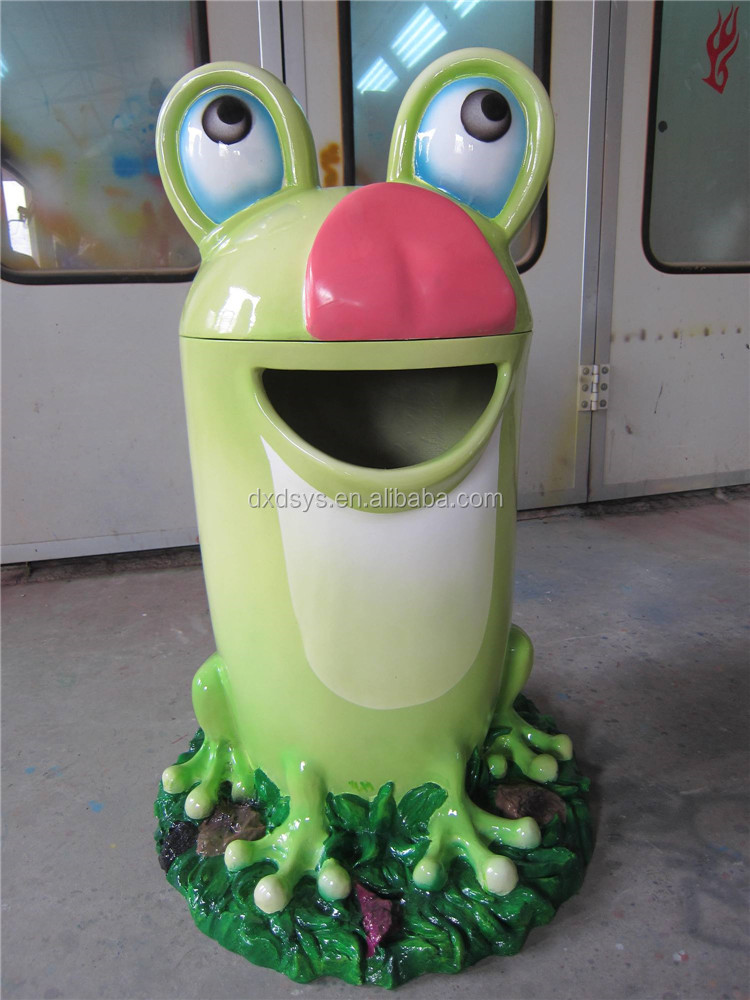 Factory decorative outdoor resin cartoon garbage can for kids playground