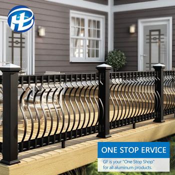 Exterior Prefab House Porch Aluminum Railings Flat Curved Metal Black  Aluminum Deck Balusters - Buy Exterior Deck Balusters,Flat Metal Deck