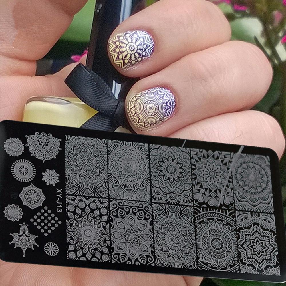 Art Tools Vorlagen Nagelstudio 1pcs Edelstahl Vorlage Nail Art Stamping Polierplatten Schönheit Blumen Schablonen Für Nägel Saxy