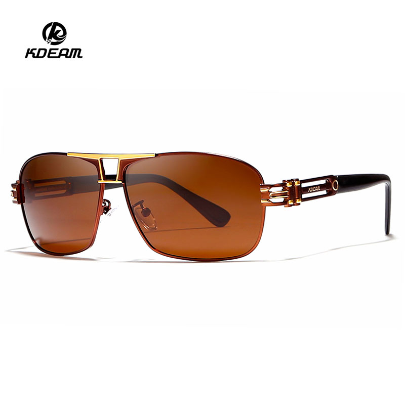 KDEAM High Quality Branded Sunglasses 4 Colors with Alloy Frame Eyewear Designer Authentic Polarized Sun glasses Color for Men