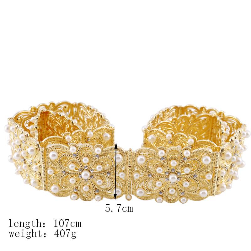 Fashion women wedding waist chain metal belt pearl crystal hollow belt bride wedding body jewelry belly chain