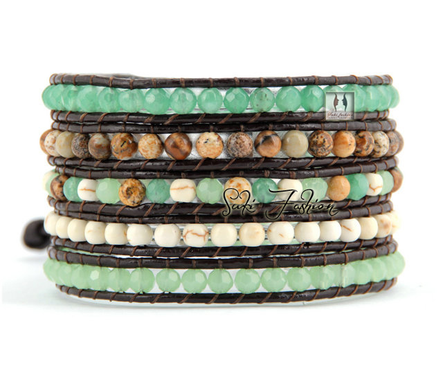 Quality Mixed Natural Stones with Rhinestone Leather Wrap Bracelet Beaded Bangle Bracelet Wholesale Natural Stone Jewelry