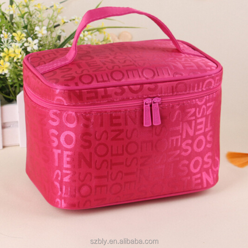 Wholesale waterproof nylon ladies daily basics cosmetic bag case with mirror