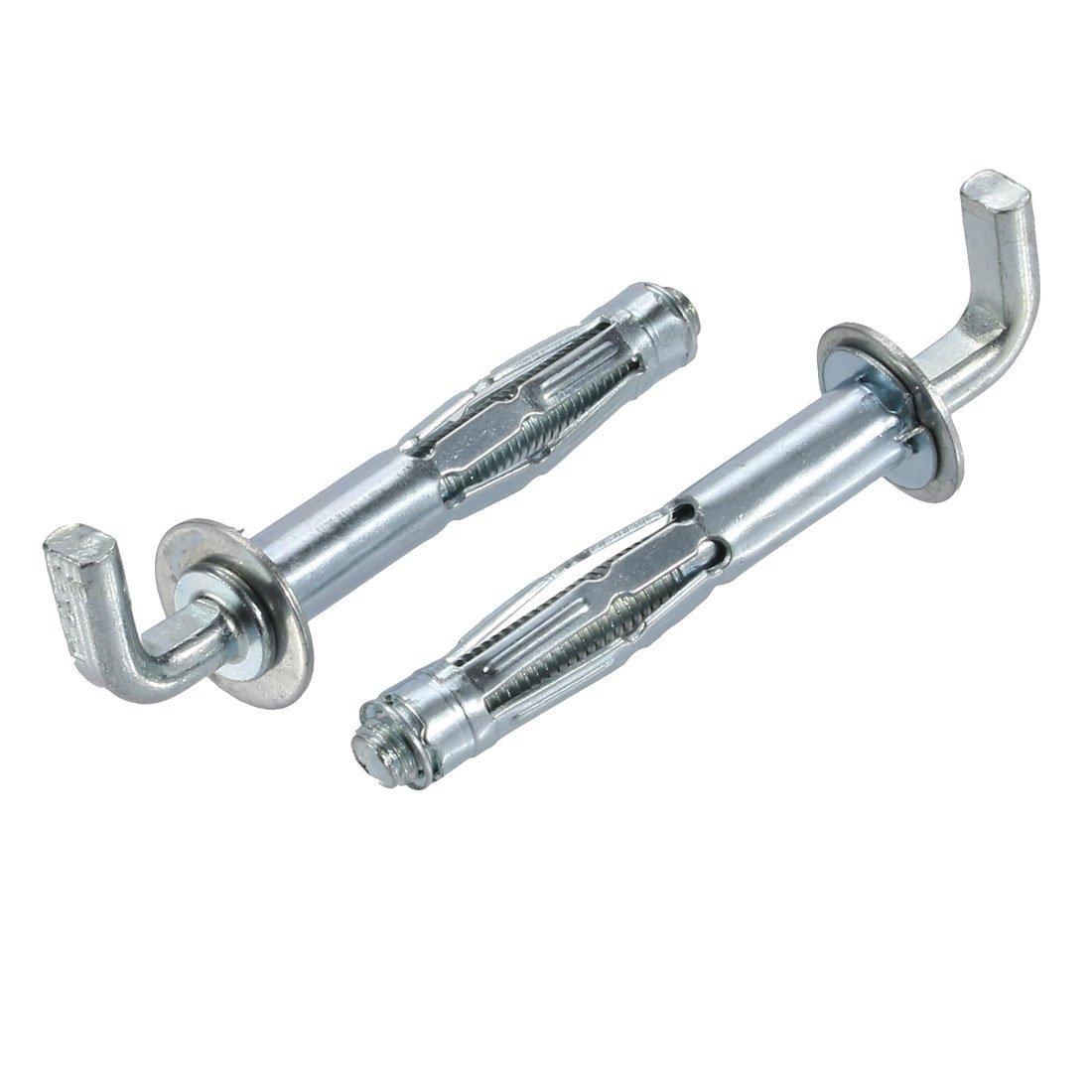 uxcell 2Pcs M8 Thread 65mm Length Zinc Plated Hollow Wall Anchor L-Shape Hook Assortment
