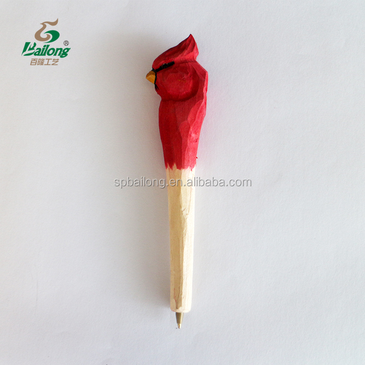 Ready to ship CE standard 72 pcs per box wood carving bird pen with custom logo