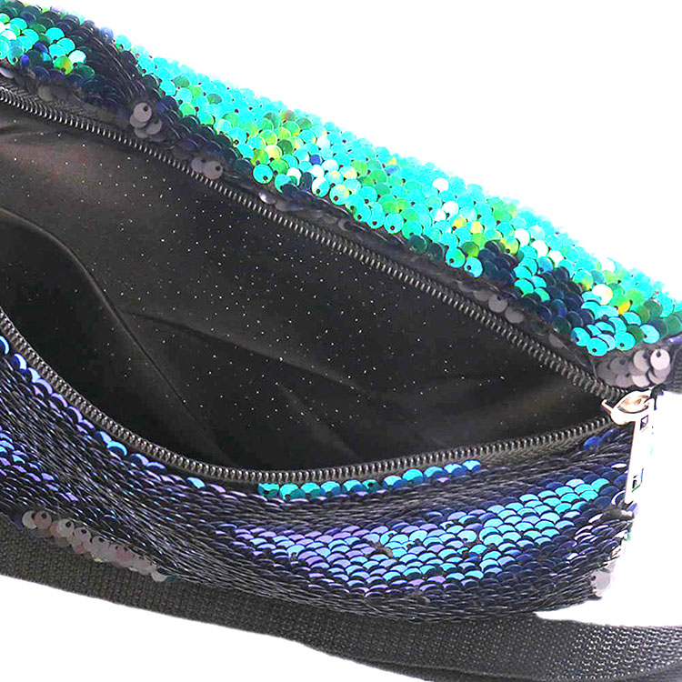 Fanny Pack for Women Sequin Waist Bag Reversible Waist Pack Glitter Sling Bag with Adjustable Belt for Beach Travel