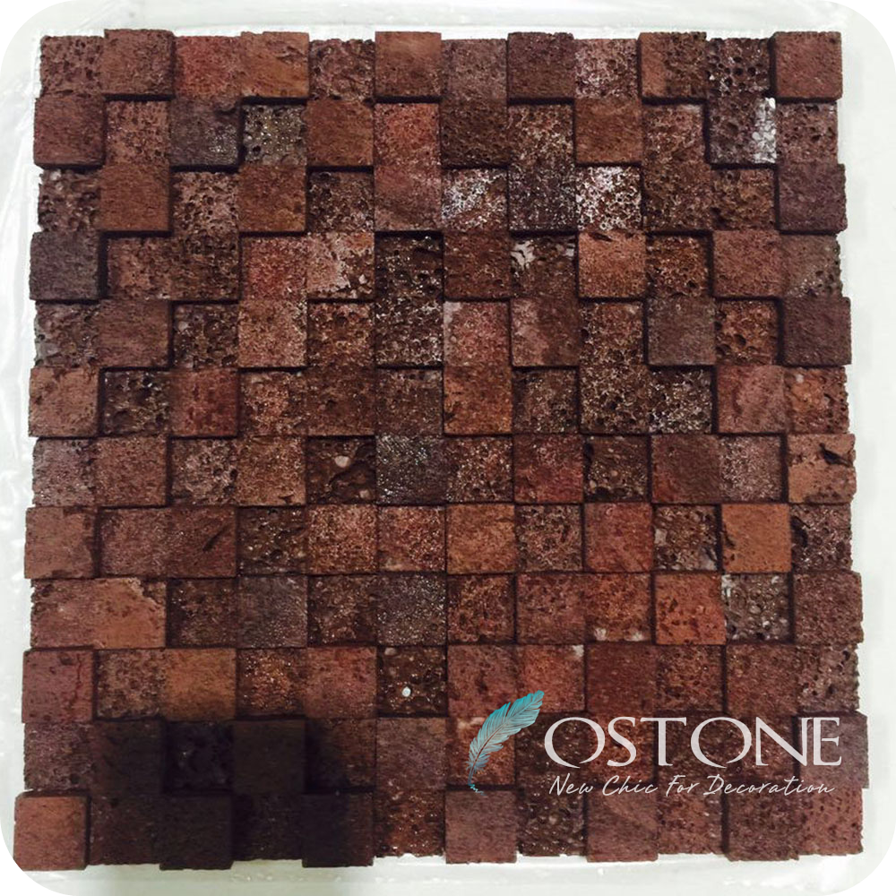 Wholesale Low Price 3D Effect Square Red Lava Stone Tiles Mosaic
