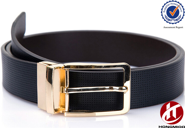 Simple Design Western Alloy Custom Pin Gold Turning Reversible Buckle Belt for Men
