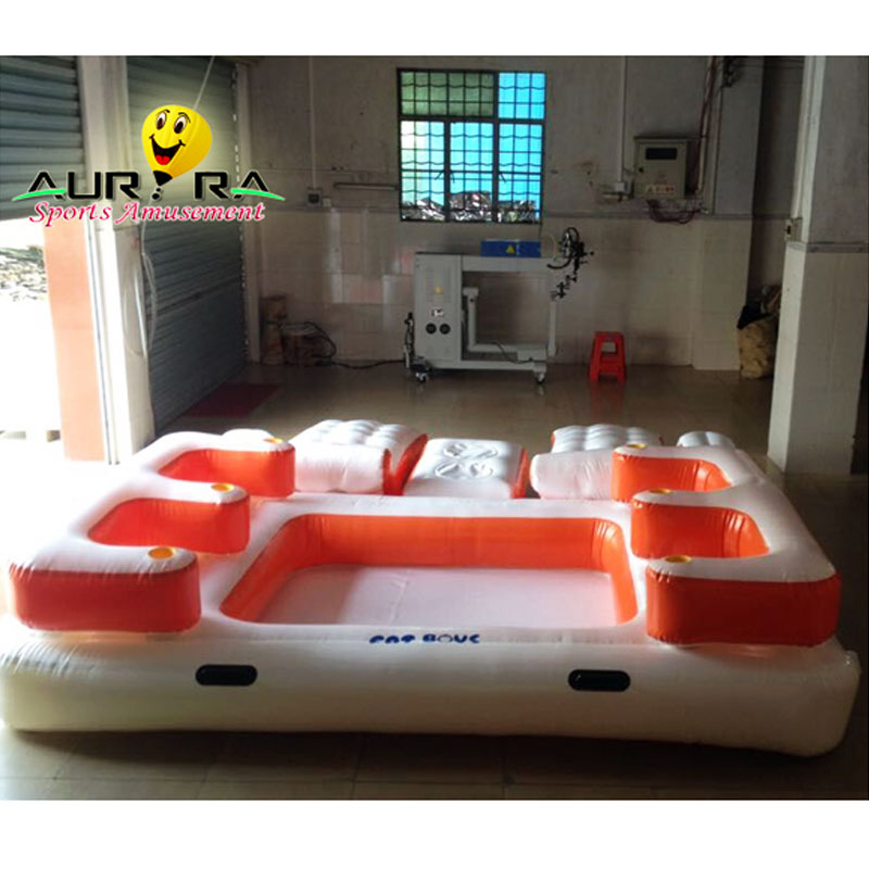 Cool Design 6 คน River Raft Tropical Tahiti Inflatable water Raft สระว่ายน้ำ Tropical Tahiti Ocean Floating Island