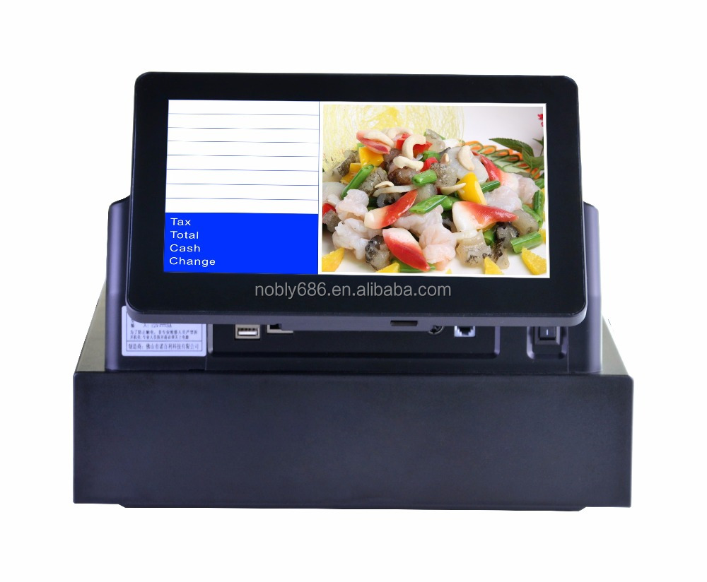 top sale dual touch screen cash register embedded with pos software & thermal printer