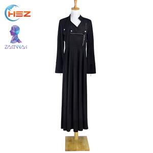 Zakiyyah 886 Milk Silk Black Prom Dress Kaftan African Style Wholesale Front Open Abaya Kurti