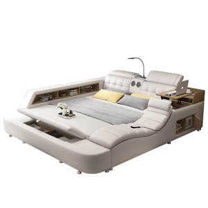 King Size Leather Furniture Storage Super Modern Music Multifunctional Smart Bed With Bluetooth